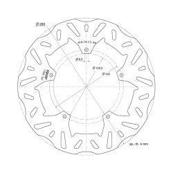 ZAVORNI DISK - POLINI - B37 za APRILIA / GILERA / PIAGGIO 125-500ccm 4T, Ø 260x125,2x4 mm, M6 mm 5-lukenj