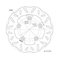 ZAVORNI DISK - POLINI - KYMCO X-Citing 250-500ccm, Ø 260x105,2x5 mm, M10 mm 5-lukenj