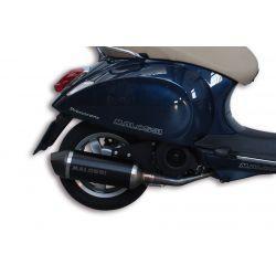 IZPUH - MALOSSI RX, Black Edition, za Vespa Primavera/Sprint 125-150ccm i.e. 3V 4T AC aluminium silencer, barva: Črna, e-norm,