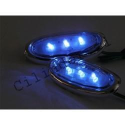 Smerniki -BGM- LED BLUE (krom ohišje za gilera runner krmilo)